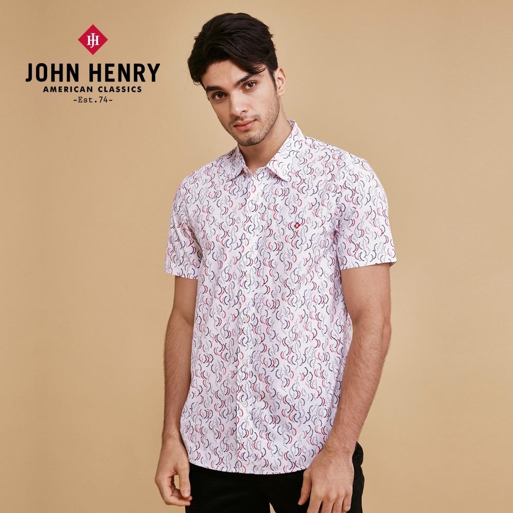 【JOHN HENRY】配色波浪塗鴉短袖襯衫