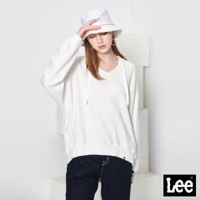 Lee DENIM UNION 長袖V領連帽厚TEE RG 女款 米白色