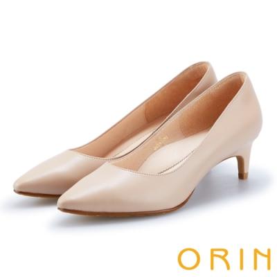 ORIN 典雅氣質 素面牛皮百搭尖頭中跟鞋-裸色