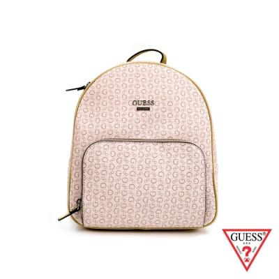 GUESS-女包-滿版字母logo後背包-粉紅