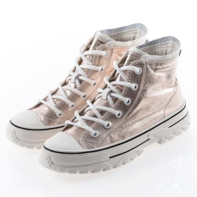 Camille's 韓國空運-正韓製-防水膠膜綁帶高筒休閒厚底鞋-粉色