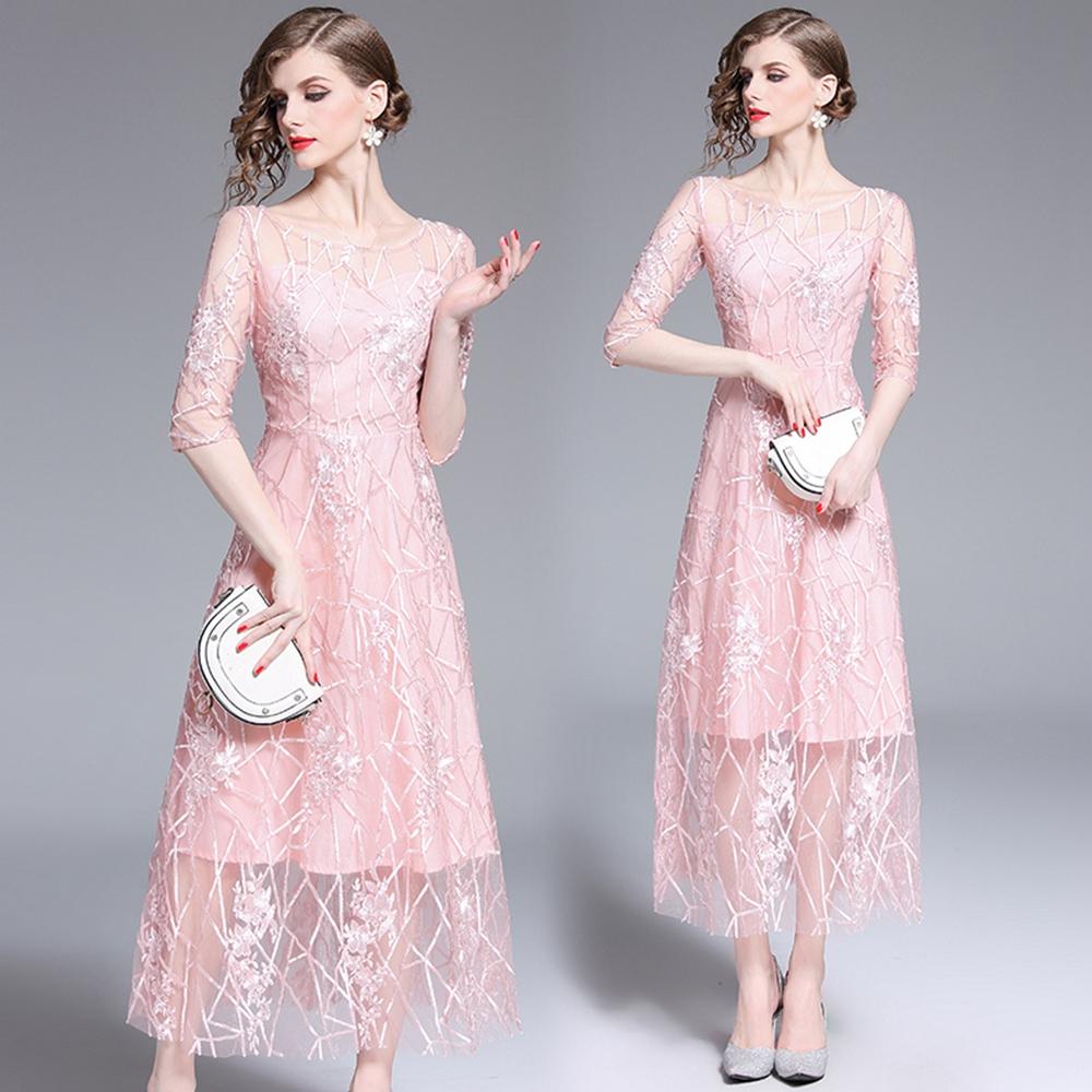 高貴顯瘦蕾絲網紗刺繡洋裝S-2XL-M2M