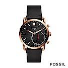 FOSSIL COMMUTER 指針式智能錶-黑色皮錶帶