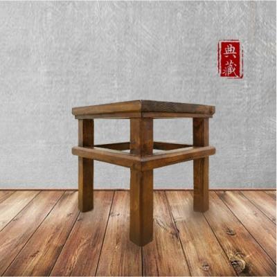 E-home 文藝復興實木小方凳-原木