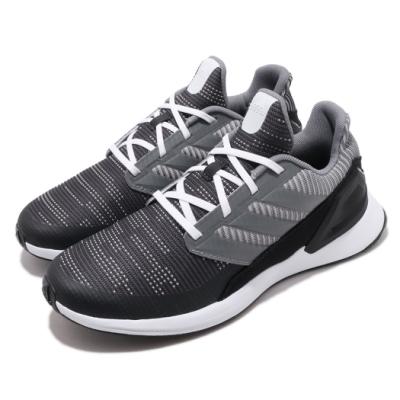 adidas 慢跑鞋 RapidaRun Knit J 女鞋 海外限定 愛迪達 路跑 緩震 透氣 黑 灰 G27305