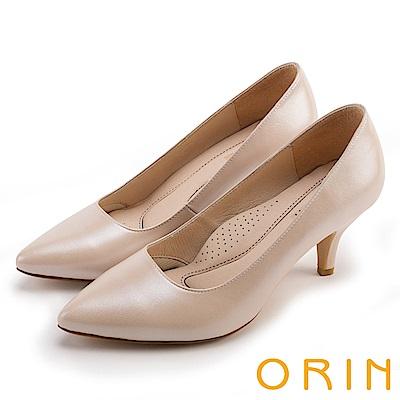 ORIN 時尚OL 簡約剪裁真皮素面高跟鞋-粉色