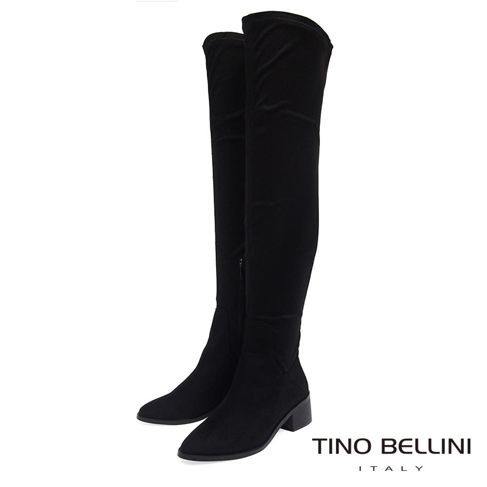 Tino Bellini 經典原色麂皮中跟過膝長靴 _ 黑