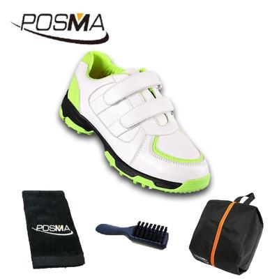 POSMA兒童高爾夫球鞋 透氣防滑防水 男童運動鞋 舒適 配POSMA鞋包 2合1清潔刷 高爾夫球毛巾(20cm/EU30) GSH065WGRN