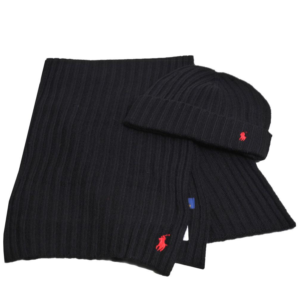 RALPH LAUREN POLO 小馬LOGO刺繡羊毛圍巾毛帽組(黑色)GUCCI
