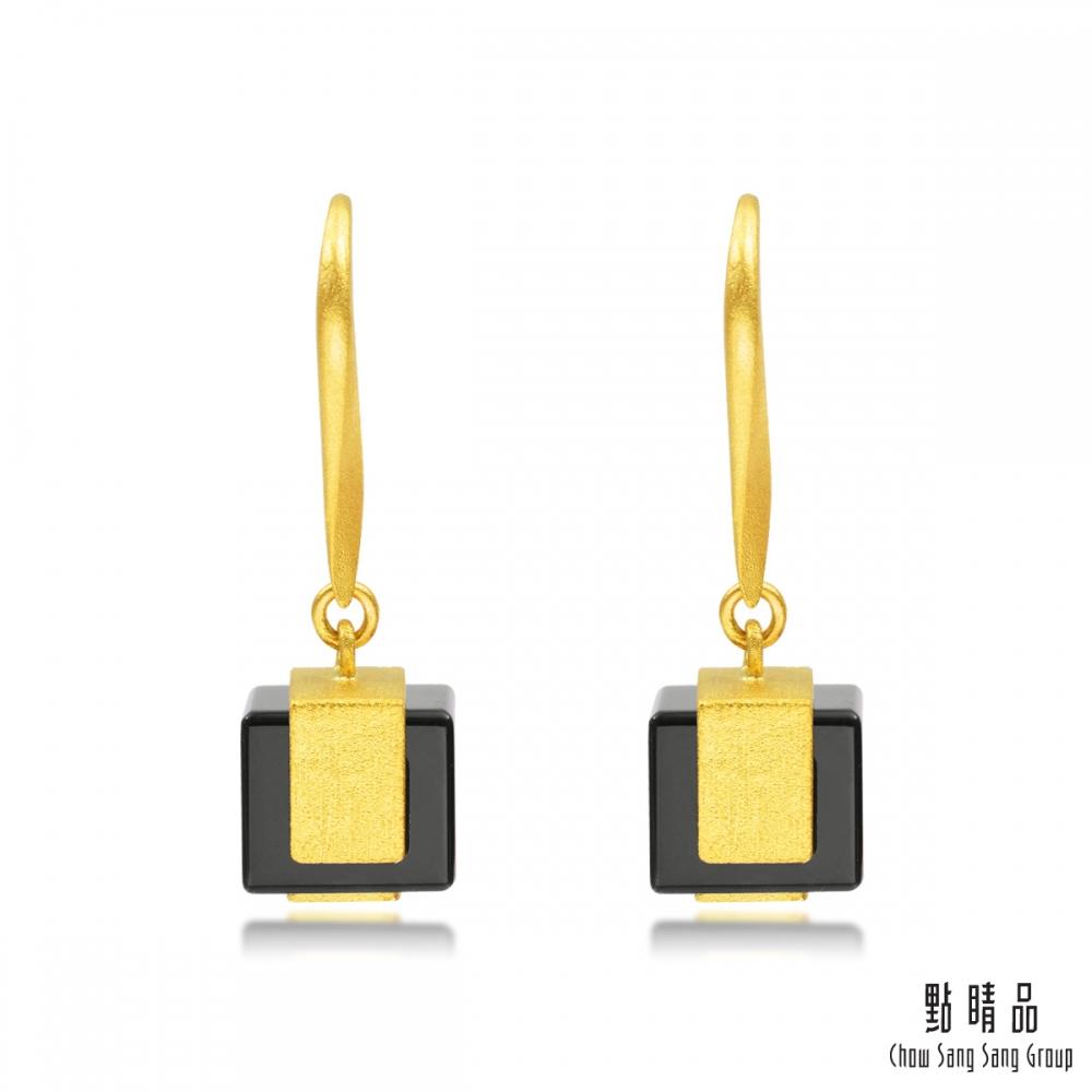 點睛品g collection 方形黑玉髓 黃金耳環