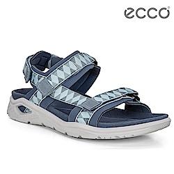 ECCO X-TRINSIC. 簡約撞色圖騰戶外運動涼鞋 女-藍