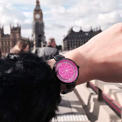 RELAX TIME RT-63系列 綻放腕錶(RT-63-7)-桃紅x黑/36mm