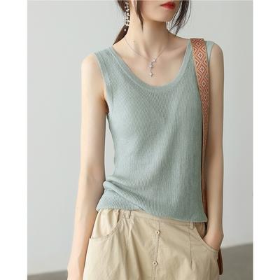 輕薄天絲亞麻針織背心舒適無袖上衣多色可選-設計所在