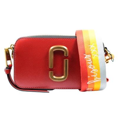 MARC JACOBS Snapshot防刮牛皮相機包/斜背包-紅x暖色系條紋