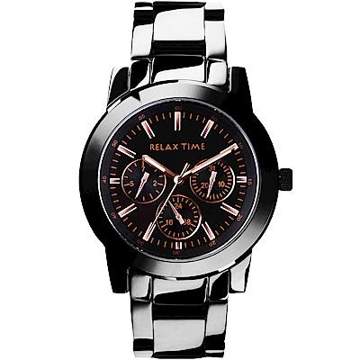 Relax Time 時尚達人日曆顯示腕錶-IP黑x玫塊金時標/42mm