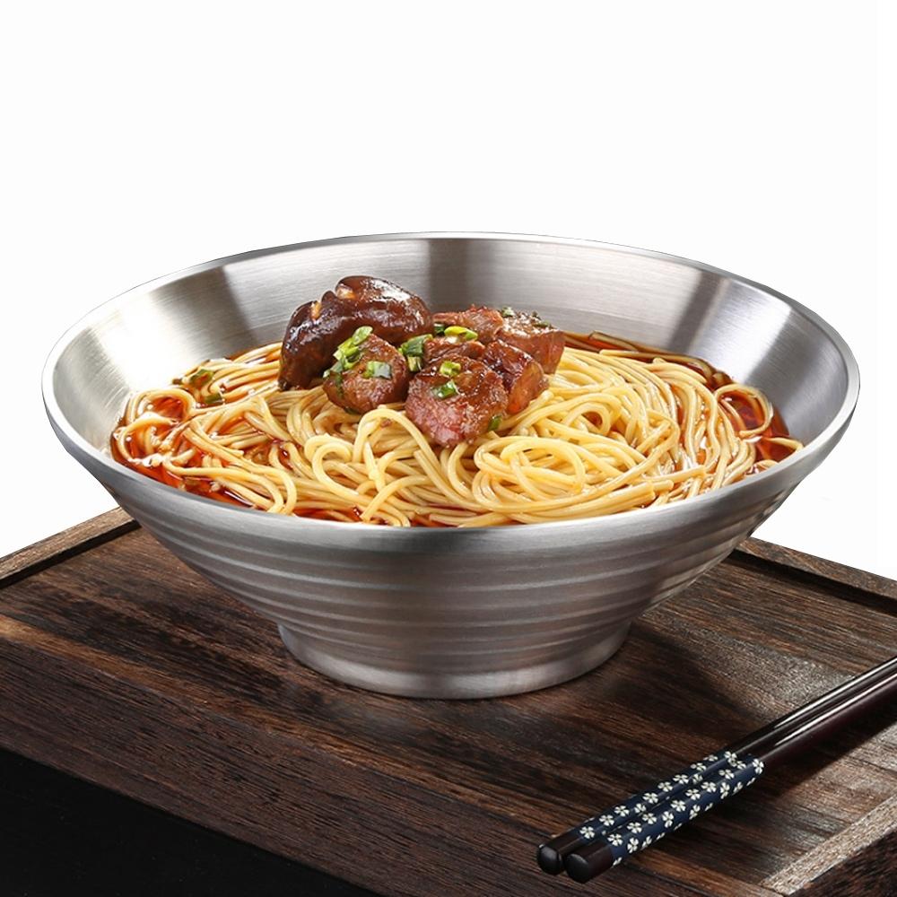 PUSH!餐具用品304不鏽鋼湯碗泡面碗防燙拉麵碗小號碗(22CM)E128