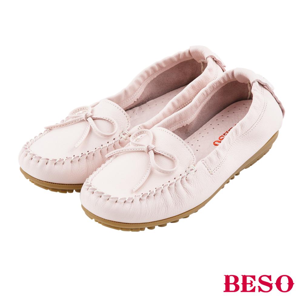 BESO 棉花糖女孩 蝴蝶結鬆緊帶全真皮莫卡辛鞋~粉紅