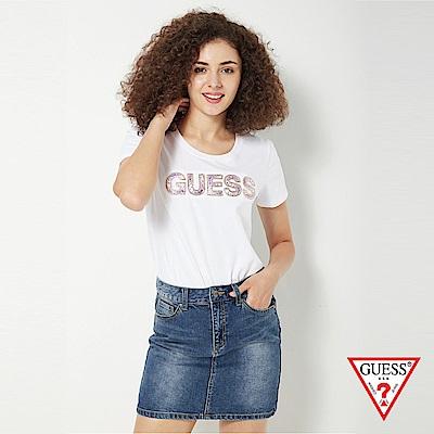 GUESS-女裝-亮片經典LOGO短T,T恤-白 原價1790