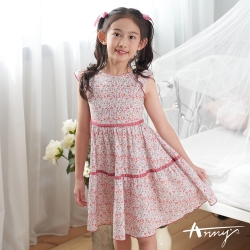 Annys安妮公主-中童夏日花田純棉舒適荷葉飛袖洋裝*0302紅