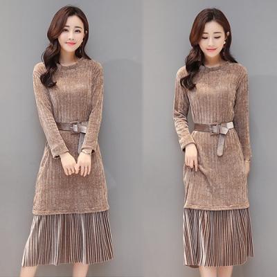 【韓國K.W.】時尚首選絨布修身洋裝-3色