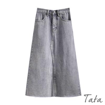 不收邊開衩A字牛仔裙 TATA-(S~XL)