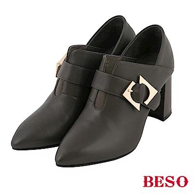 BESO 簡約俐落 全真皮飾釦 2way 粗跟踝靴~灰