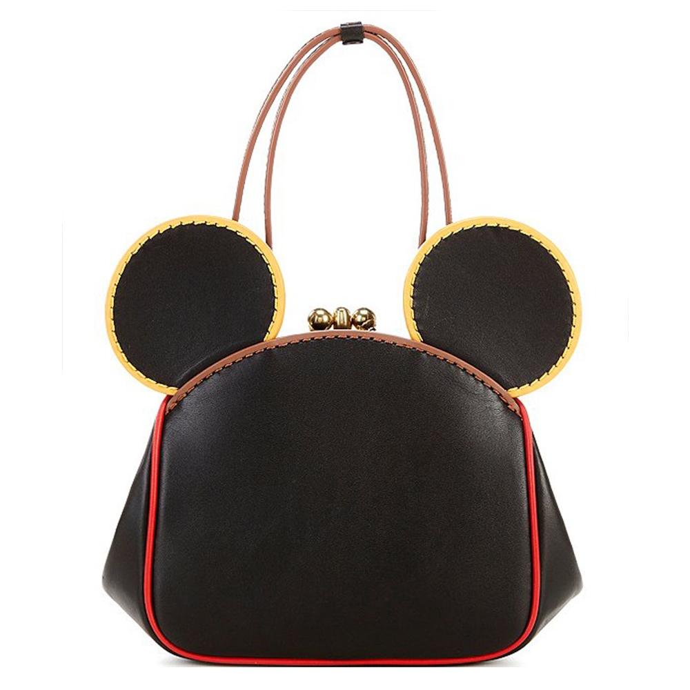 COACHxDisney MickeyxKeith Haring 復古米奇耳朵造型皮革蝴蝶扣手提/斜背兩用鍊條包