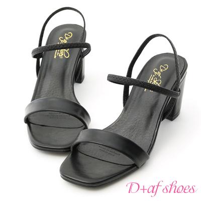 D+AF 時尚焦點.一字彈力帶方頭高跟涼鞋*黑