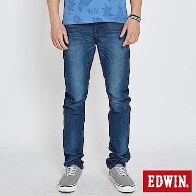 EDWIN JERSEYS 迦績立體剪接寬直筒牛仔褲-男-石洗綠