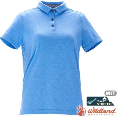 Wildland 荒野 0A71639-73水藍色 女彈性抗UV本布領POLO上衣