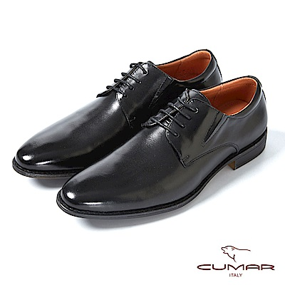 CUMAR舒適真皮 俐落簡約正式綁帶皮鞋-黑