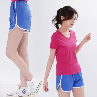 【遊遍天下】女款彈性吸排防曬慢跑運動機能短褲GP1012藍色