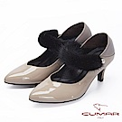 【CUMAR】復古典雅-異材質深V口兩穿式高跟鞋