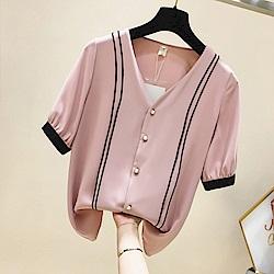 初色  V領珍珠扣雪紡衫-共4色-(M-XL可選)