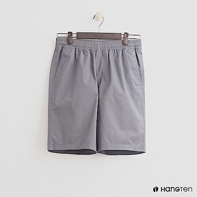 Hang Ten - 男裝-鬆緊純色棉質短褲 - 灰