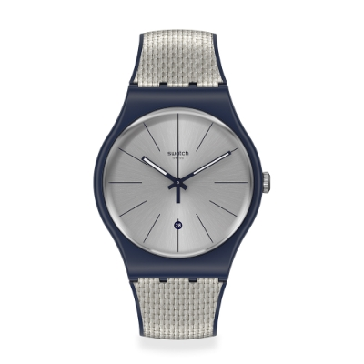 Swatch 原創系列手錶 GREY CORD 個性線條灰-41mm