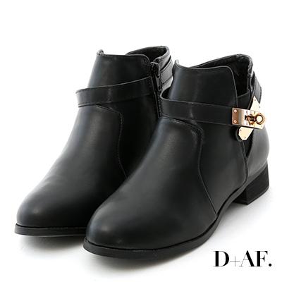 D+AF 名品精選.金屬鎖釦低跟短靴*黑