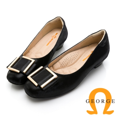 GEORGE 喬治皮鞋典雅方型金屬飾釦真皮低跟鞋-黑色