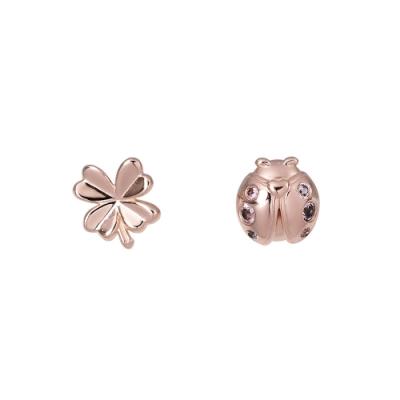 Pandora 潘朵拉  閃耀水晶幸運草與瓢蟲玫瑰金色 純銀耳環