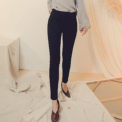 純色高含棉腰鬆緊彈力窄管褲-OB嚴選