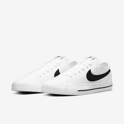 Nike 休閒鞋 Court Legacy Canvas 男鞋 基本款 帆布 皮革logo 輕便 穿搭 白 黑 CW6539-101