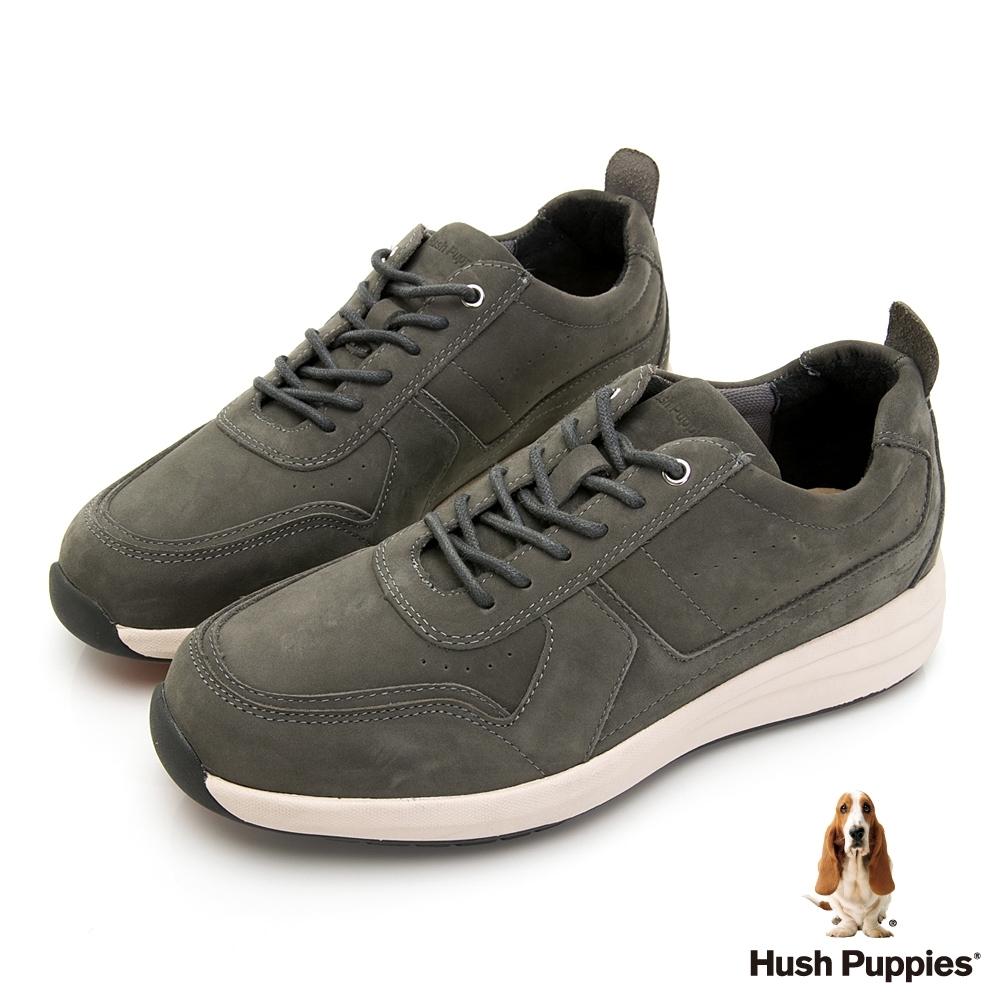 Hush Puppies 舒適俐落皮革休閒男鞋-灰色