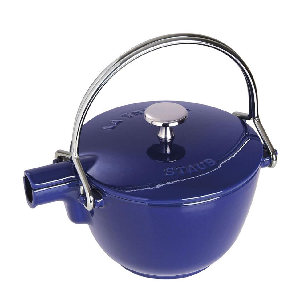 Staub 圓形鑄鐵水壺 茶壺 1.15L 深藍 法國製