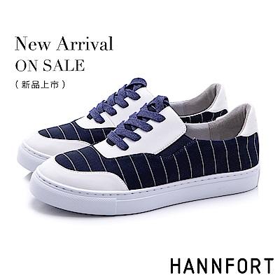 HANNFORT CAMPUS 條紋帆布休閒鞋-女-深藍