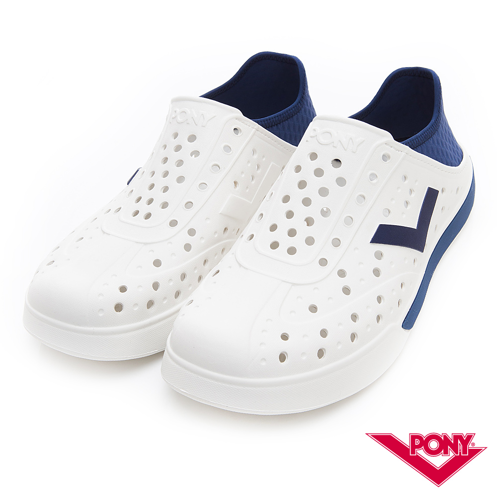 【PONY】ENJOY明星款洞洞鞋 踩後跟 涼鞋 拖鞋 中性 深藍