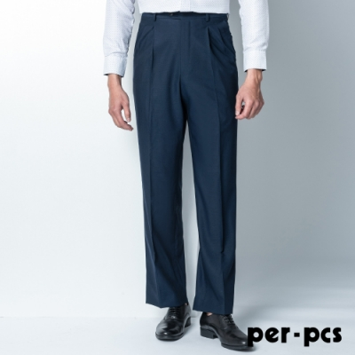 per-pcs 商務紳士簡約打摺西裝褲_深藍(81228)