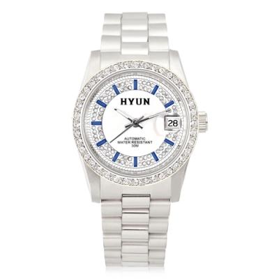 HYUN炫 極致奢華珍珠母貝層次鑽錶-銀