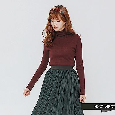 H:CONNECT 韓國品牌 女裝-修身高領針織上衣-紫