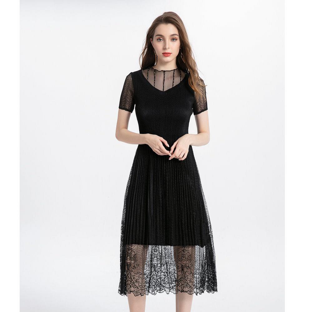 優雅領口網紗貼鑽蕾絲洋裝-F(共四色)-糖潮