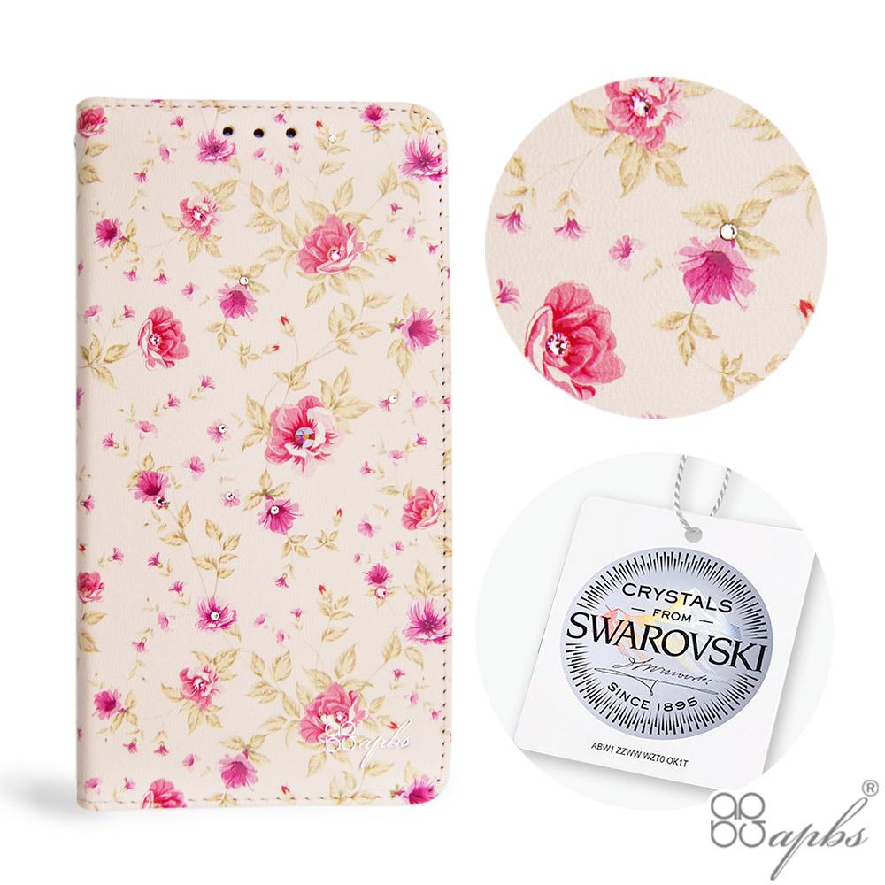 apbs iPhone XS / iPhone X 5.8吋施華水晶鑽皮套-月季花 @ Y!購物